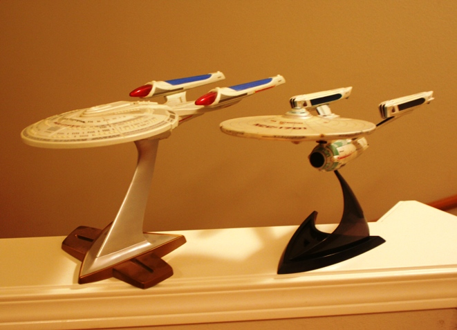 Not to scale, weirdly the E design is roughly 2x the size of the NCC-1701
